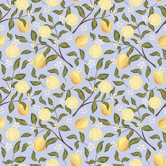 Mooi naadloos patroon met citroen, bloemen en tak. kleurrijke hand getekende vectorillustratie. textuur voor print, stof, textiel, behang.
