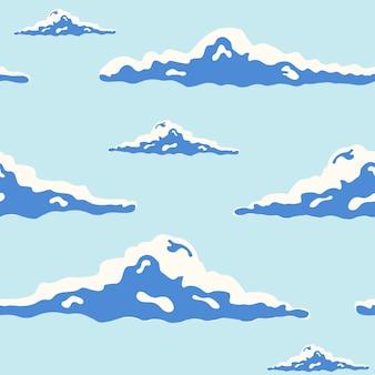 Mooi naadloos patroon met krullende wolken van verschillende grootte in blauwe hemel