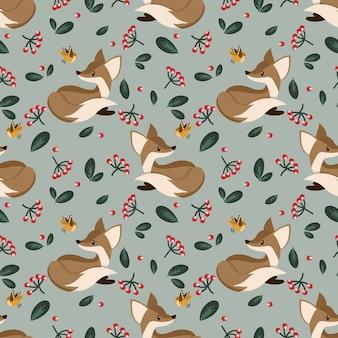 Mooi naadloos patroon met schattige vossen.
