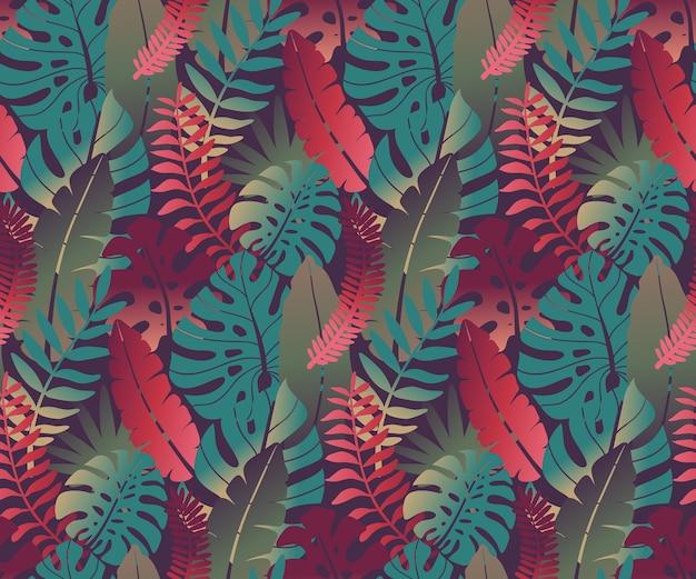 Mooi naadloos patroon met tropische jungle palm monstera bladeren