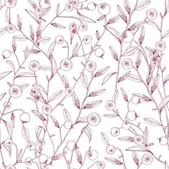 Mooi naadloos patroon met veenbessen die op stengels met uiterst kleine bladeren groeien tegen wit