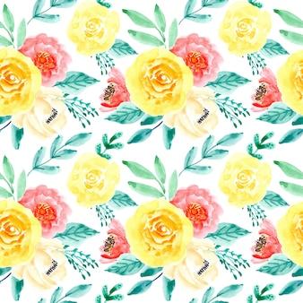Mooi naadloos patroon met waterverf bloemen