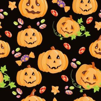 Mooi naadloos patroon. snoepjes, pompoenen, snoepjes. set elementen voor de viering van halloween. vectorillustratie geïsoleerd op een witte achtergrond.