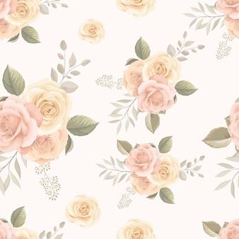 Mooi naadloos patroonontwerp met hand getrokken bloemen