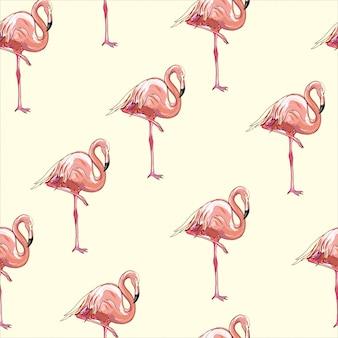 Mooi naadloos tropisch patroon met flamingo en hibiscus.