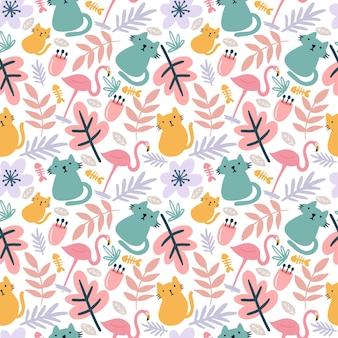 Mooi naadloos vectorpatroon met schattige dieren en blad op de achtergrond