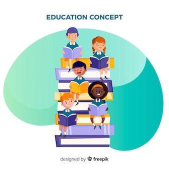 Mooi onderwijsconcept met vlak ontwerp