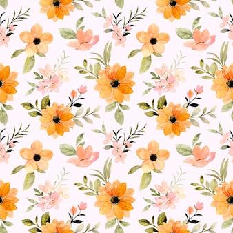 Mooi oranje bloemen aquarel naadloos patroon