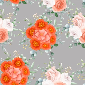 Mooi oranje bloemen naadloos patroon
