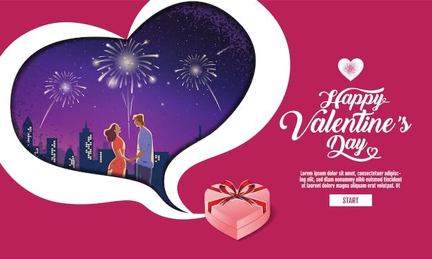 Mooi paar, valentijnsdag, festival, landschap nacht achtergrond