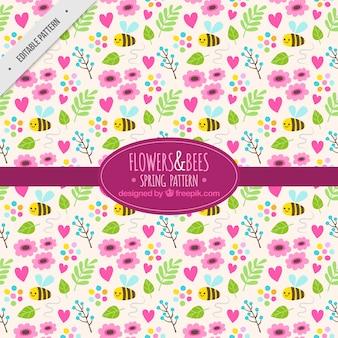 Mooi patroon met bloemen en bijen