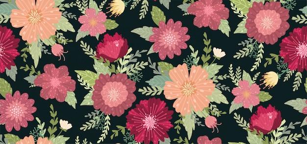 Mooi patroon met een bloem op de zwarte achtergrond.