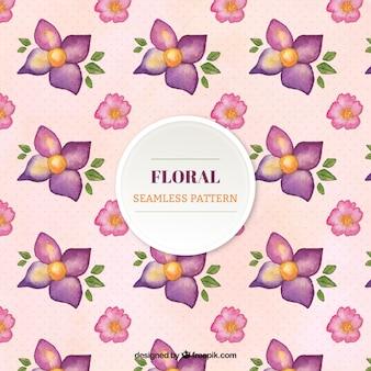 Mooi patroon met roze en paarse bloemen
