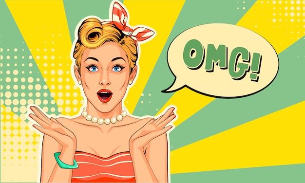 Mooi pin-up meisje met opgewonden uitdrukkingen in pop-artstijl