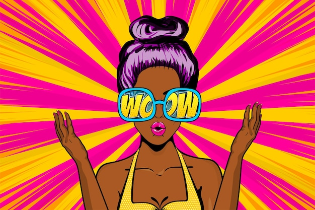 Mooi pop-artmeisje verrast gezicht in glazen komische tekst wow sexy geschokte afrikaanse zwarte vrouw