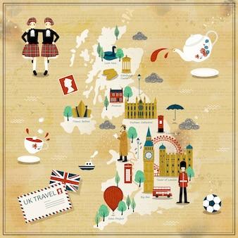 Mooi reiskaartontwerp van het verenigd koninkrijk met attracties