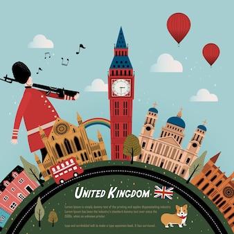 Mooi reisposterontwerp van het verenigd koninkrijk met straatlandschap