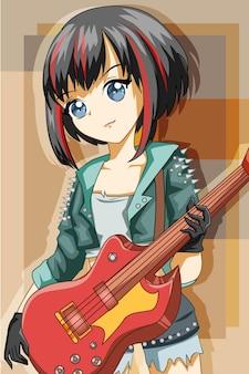 Mooi rockmeisje met basgitaar voert cartoonillustratie uit