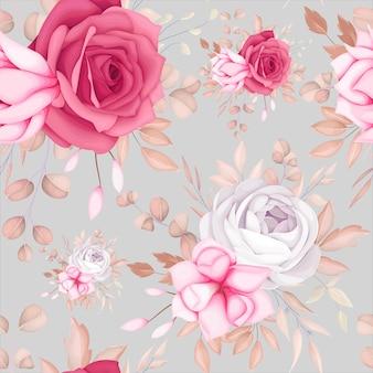 Mooi romantisch kastanjebruin bloemen naadloos patroon