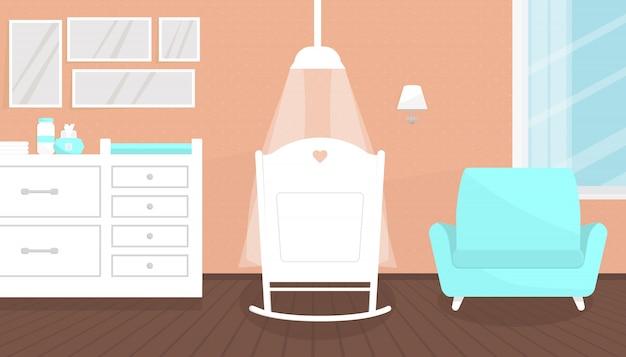 Mooi roze babykamerbinnenland met meubilair.