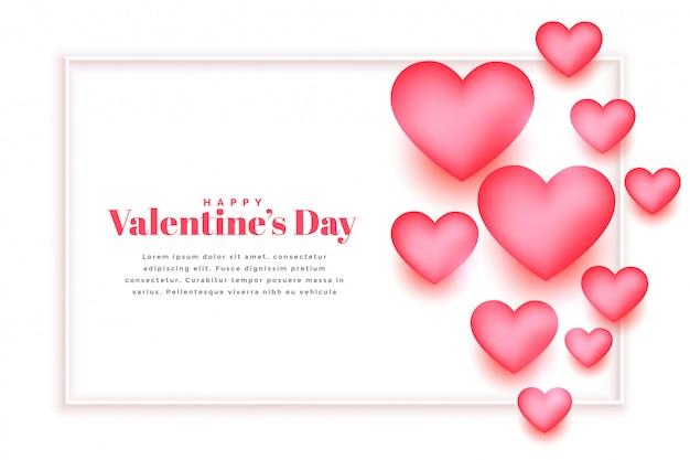 Mooi roze harten valentijnsdag wenskaart sjabloonontwerp