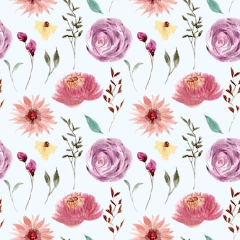Mooi roze paars bloemenwaterverfpatroon