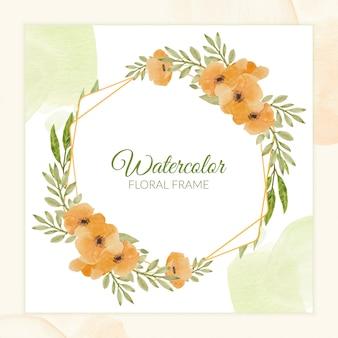 Mooi rustiek waterverf bloemenframe in oranje kleur
