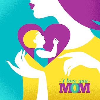 Mooi silhouet van moeder en baby in hart. kaart van happy mother's day