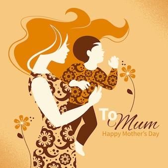 Mooi silhouet van moeder en baby in retro stijl. kaarten van happy mother's day