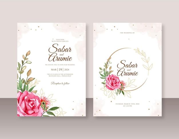 Mooi sjabloon voor huwelijksuitnodigingen met bloemenwaterverf