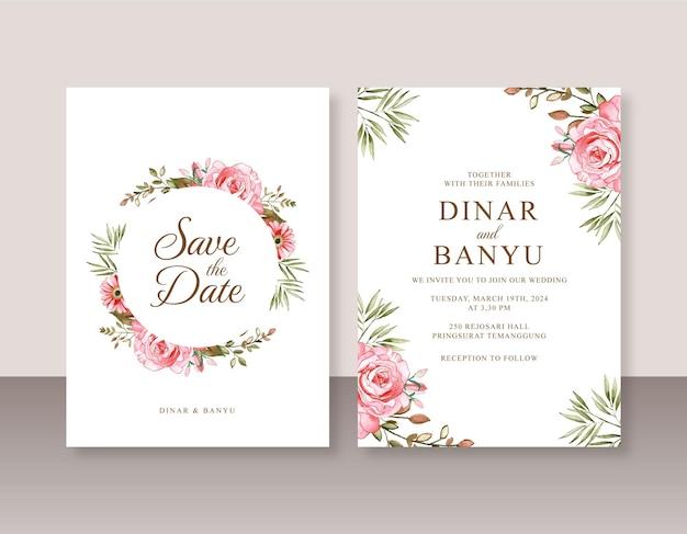 Mooi sjabloon voor huwelijksuitnodigingen met rozenwaterverf