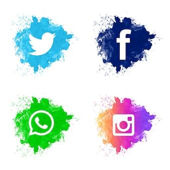 Mooi sociaal media pictogram vastgesteld ontwerp