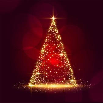 Mooi sparkle kerstboom glanzend rood festival kaart ontwerp