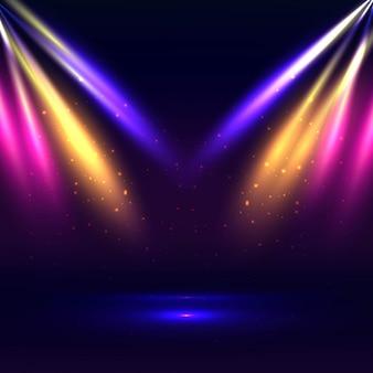 Mooi stadium met kleurrijke lichtenachtergrond