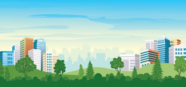 Mooi stadsgezicht uitzicht vanaf landschap parklandschap