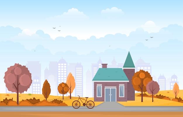 Mooi stadspark in de herfstherfst met de illustratie van de horizon van de bouw