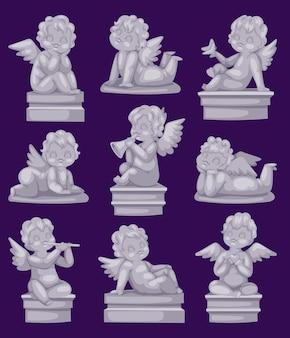 Mooi standbeeld van engel bidden marmer antiek beeldhouwwerk of monument en cupido jongen standbeeld steen decoratie symbool
