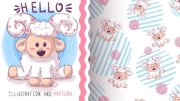 Mooi teddy schapen naadloos patroon