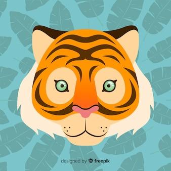 Mooi tijgergezicht met plat ontwerp