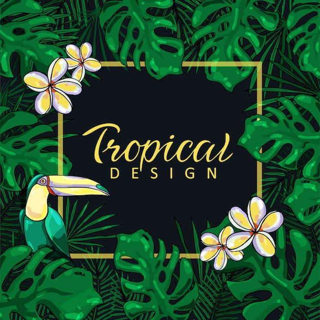 Mooi tropisch frame met hibiscusbladeren, bloemen en toucan op een zwarte achtergrond.