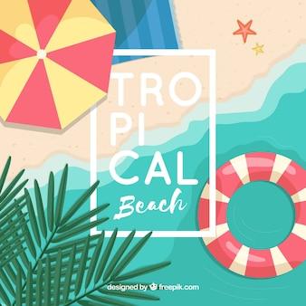 Mooi tropisch strand met een plat ontwerp