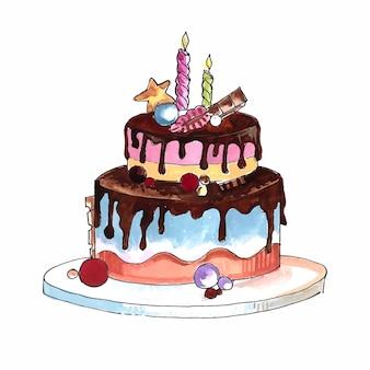 Mooi verjaardagstaartontwerp voor een feest