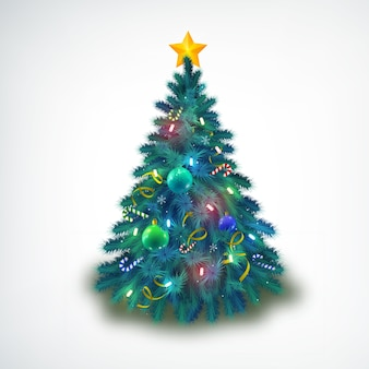 Mooi versierd met kerstballen en sterren kerstboom op wit