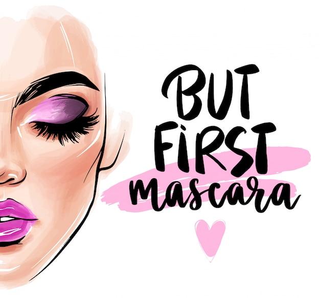 Mooi vrouwengezicht. maar eerst. mascara.