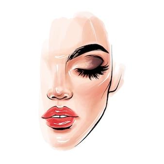 Mooi vrouwengezicht. meisjesportret met lange zwarte zwepen, wenkbrauwen