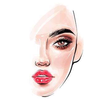 Mooi vrouwengezicht. meisjesportret met lange zwarte zwepen