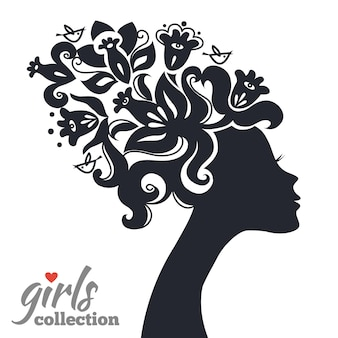 Mooi vrouwensilhouet met bloemen. meisjes collectie