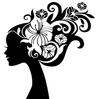 Mooi vrouwensilhouet met bloemen