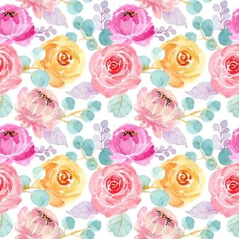 Mooi waterverf bloemen naadloos patroon