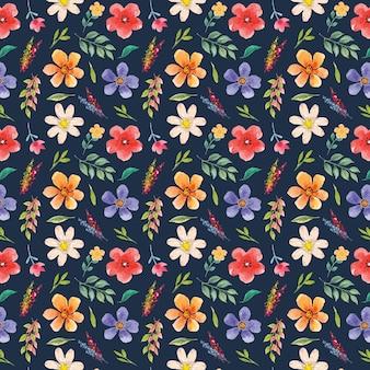 Mooi waterverf naadloos patroon van kleurrijke bloemen op marineachtergrond